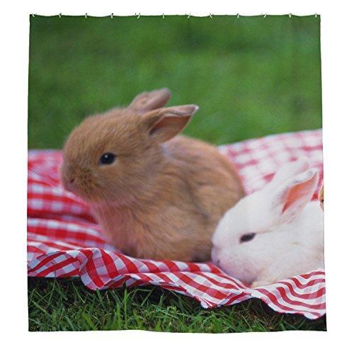 rioengnakg braun und weiß Kaninchen Wasserdicht Polyester Duschvorhang, #1, 72