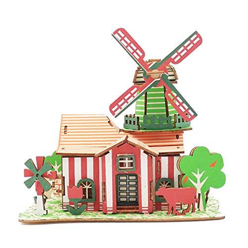 Huhua Enfants 3D Bricolage Maisons en Bois Jigsaw Enfants Château Construction Modèle Puzzle Jouet (W)