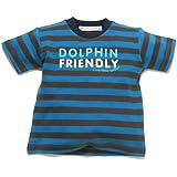 Little Green Radicals organic Fairtrade cotton Dolphin Friendly T-shirt  (Blue & Brown Stripes, 3-4 Years)