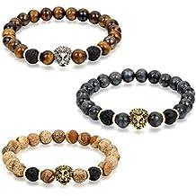 Flongo Gioielli Clásica pulsera de piedras braccialetto di energia, Regolabile braccialetto buddista con perline tessuto, Bracciale Portafortuna maschio donna leone 3 colori