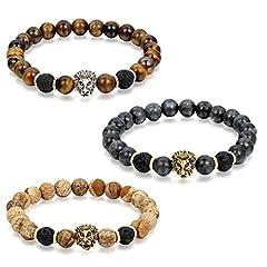 Idea Regalo - Flongo Gioielli 3 Piezas Clásica pulsera de piedras braccialetto di energia, Regolabile braccialetto buddista con perline tessuto, Bracciale Portafortuna maschio donna leone 3 en imballare Offerta Speciale