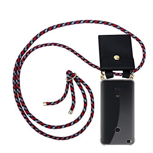 Cadorabo Funda con Cuerda para Xiaomi Mi MAX 2 en Rojo Azul Blanco - Cubierta Protección Collar para Colgar di TPU Silicona Transparente con Anillos OROS, Cordon y Estuche Removible