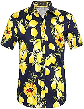 SSLR Uomo Camicie in Manica Corta Limone Button Down Tropicale Casual Stile Hawaiana