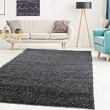 carpet city Teppich Hochflor Shaggy Einfarbig Wohnzimmer-Schlafzimmer Dunkelgrau Grau Rund Und Rechteckig Öko Tex 100%, Größe in cm:60x110 cm