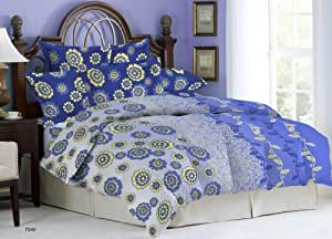 Bombay Dyeing Ambrosia Cotton Double Bedsheet with 2 Pillow Covers - Blue (05724003)