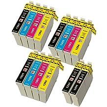 PerfectPrint - 14 (3 juegos de 4 y 2 Negro) Capacidad Epson Cartuchos de tinta de alta compatibles para Epson Stylus SX230 SX235W SX420W SX425W SX435W SX440 SX445W SX525WD SX535WD SX620FW y Epson Stylus Office BX305F BX305FW B42WD BX305FW Plus BX320FW BX525WD BX535WD BX625FWD BX635FWD