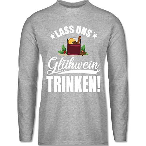 Weihnachten & Silvester - Lass Uns Glühwein Trinken - weiß - XXL - Grau meliert - BCTU005 - Herren Langarmshirt