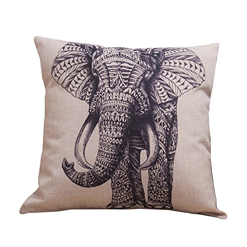 CAOLATOR Funda de Almohada de Fundas de Cojines Serie de Precioso Elefantes...