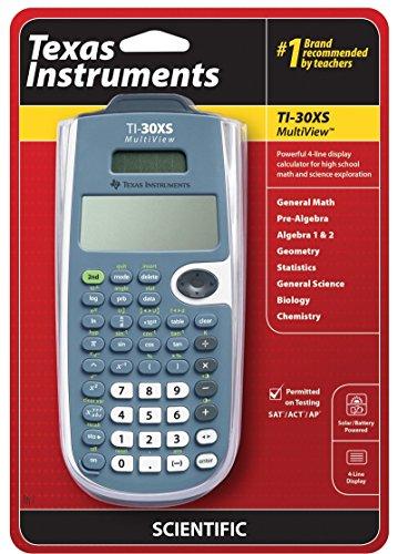 Texas Instruments TI-30XS MultiView Wissenschaftlicher Taschenrechner, 16 Stellen, 4 Zeilen, Akku/Solar, Blau/Weiß