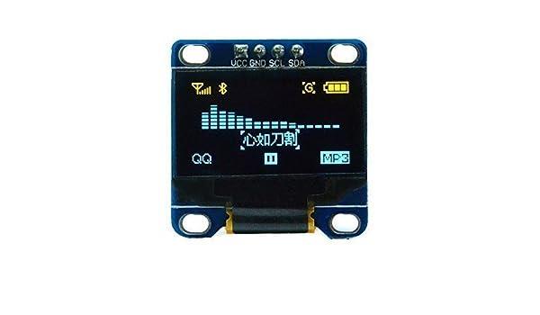 Aihasd 0,96 Pouces Bleu Jaune LCD OLED de 128 x 64 s/érie I2C IIC Affichage LED Module pour Arduino