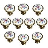 FBSHOP(TM) 10 Stück 32mm Französisch Flair Keramik Knöpfe - Handgemalte Blumen-Pilz-förmige Design Runde handgemachte Küchenschrank & Schubladenknöpfe - Cabinet Pulls/Griff