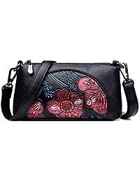 1eaa5159f6c1 JUND Damen Vintage PU Leder Handtaschen Klein Mode Blumenmuster  Umhängetasche Lässig Frau Ledertasche
