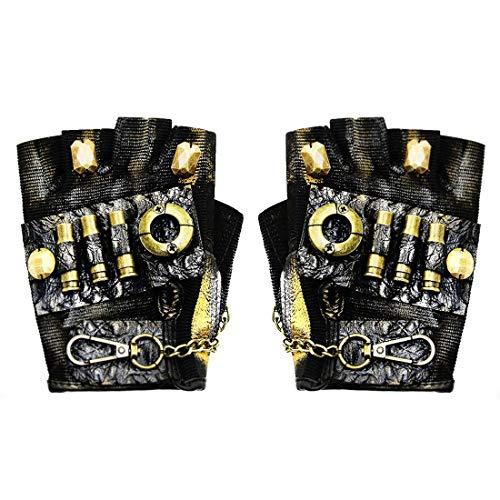 Chenyuan Ein Paar Frauen Half Finger Gothic Handschuhe Steampunk Rock Cosplay Kostüm Metall Nieten Biker Fahren Leder Fingerlose Handschuhe Zubehör für Erwachsene (Farbe : Style1, Size : S)