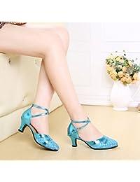 XPY&DGX Zapatos de baile latino en el adulto de tacón cuadrado azul mujer zapatos de baile Zapatos de baile de gran tamaño con baja zapatos modernos, 6