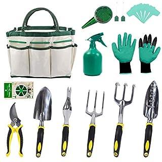 KEAYOO Gartenwerkzeug Set - 13 in 1 Set mit Rostfrei Gartengräte, Tasche, Gartenhandschuhe, Seed Tasche und Sämann, Plant Labels Oma
