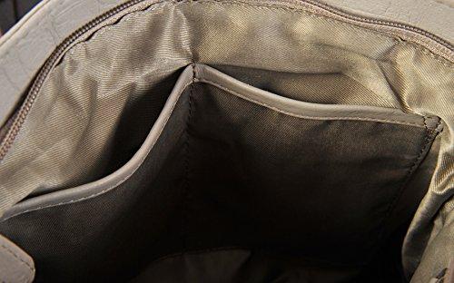 ROWALLAN Nere O Navy Medium Leather Da Spalla Tracolla Zip In Alto Borsa 9543 Taupe