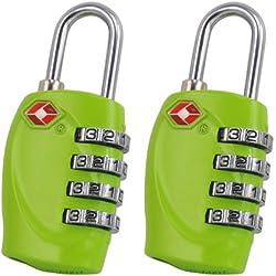 2 x TRIXES candados con combinación de 4 números para equipaje en color verde