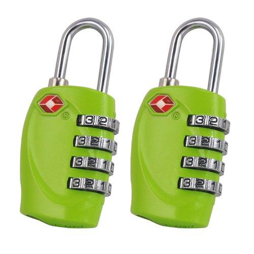 TRIXES 4-stelliges TSA-Vorhängeschloss x2 Zahlenschloss für Gepäck, Tasche, Koffer - Grün (Praktische Programmierung)