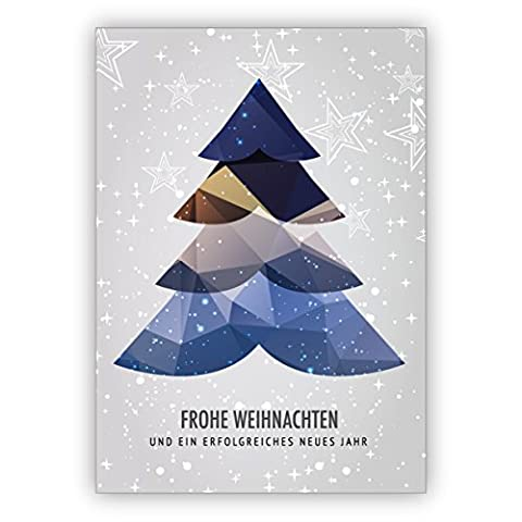 Im 16er Glückwunsch Set: Moderne Weihnachtskarte mit Weihnachtsbaum und Sternen: Frohe Weihnachten und ein erfolgreiches neue Jahr