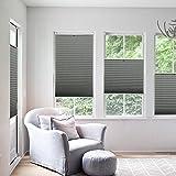 KINLO Plissee Jalousien Rollo Sonnenschutzrollo ohne Bohren für Fenster Tür 60x130cm Vorhänge Seitenzugrollo Klemmfix mit Klemmträger (Hellgrau)