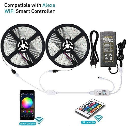 10M Led Wifi Streifen, Lunsy 2er 16.4FT 5050 LED Licht Streifen- Kit, mit 150 Perlen, Wireless IR Controller, Android IOS Smartphone, Amazon Alexa gesteuert