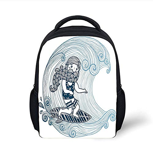 Kids School Backpack Wave,Doodle Surfer with Long Beard on Swirled Waves Surfboard Water Sports Decorative,Light Blue Dark Blue White Plain Bookbag Travel Daypack