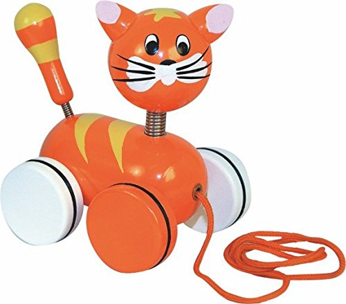 Ziehtier / Ziehfigur / Nachziehtier - Katze Tier Holzfigur - aus Holz BUNT Wackeltier - für Kinder Mädchen & Jungen - Nachziehfigur / Hinterherziehen Hinterherziehfigur zum Laufen lernen