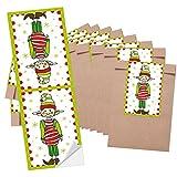 10 kleine braune WICHTEL Weihnachtstüten Papiertüten (8,5 x 13 cm) + 10 kleine rot weiß grüne Banderolen Weihnachts-Aufkleber zum Wichteln (5 x 15 cm) (14295) - auch zum Geldgeschenke verpacken oder give-away