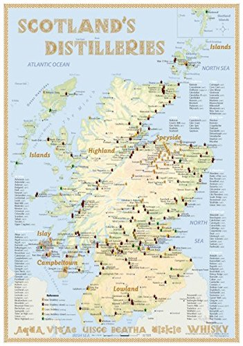 Whisky Distilleries Scotland - Tasting Map 24x34cm: The Scottish Whisky Landscape in Overview -