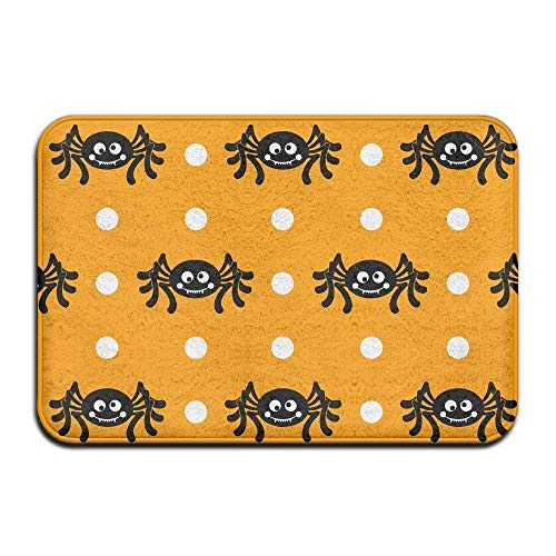 Deglogse Non Slip Backing Entry Way Doormat,Soft Halloween Cute Spider Bath Mat Coral Fleece Area Rug Door Mat Entrance Rug Floor Mats (Halbmond Hunde Halloween)
