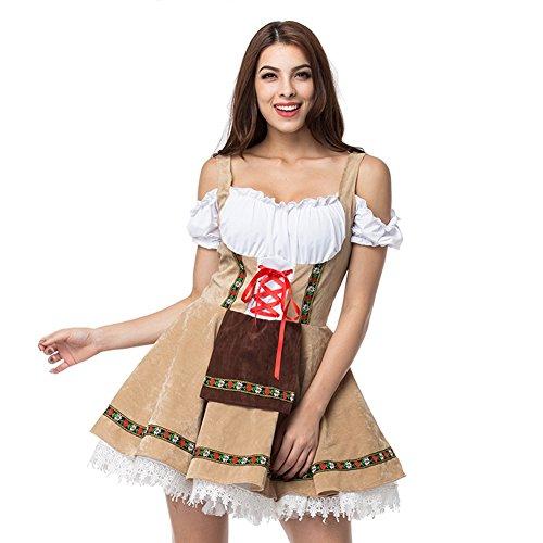 Serving Wench Kostüm - MOONIGHT Damen Dirndl Serving Wench Bayerisches Biermädchen Oktoberfest Kostüm für Erwachsene (L/XL-EU38)