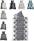 Leonado-Vicenti Thermofleece Bettwäsche 2 TLG / 4 TLG / 3 TLG Flausch Winter Garnitur Bettbezüge, Maße:2 teilig 135x200 cm, Farbe:Ornamente schwarz weiß