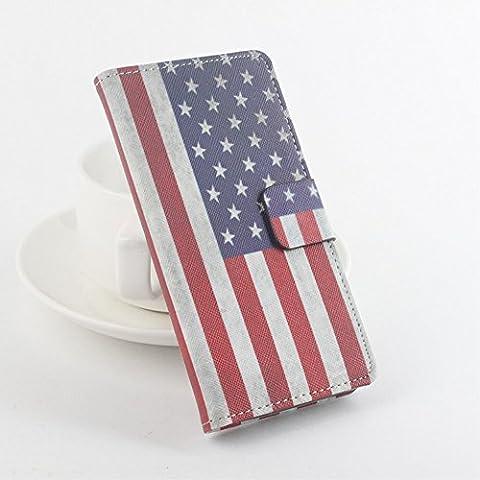 Etui PU modèle Stand pour Meizu m2 / Blue Charm 2 - US National Flag