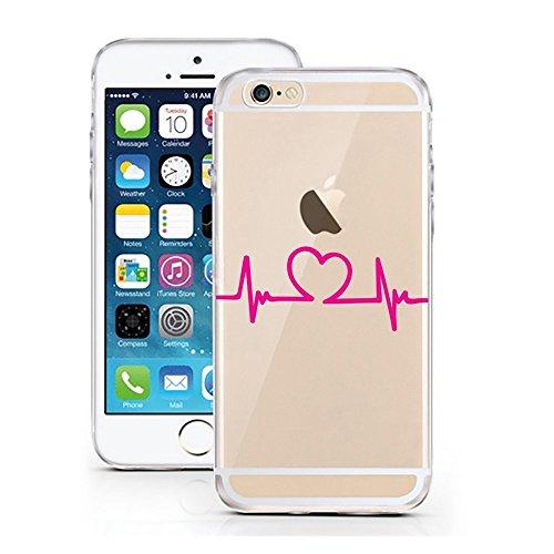 Blitz® Oeuf motifs housse de protection transparent TPE caricature bande iPhone ECG Heart M8 iPhone 5 ECG Heart M8