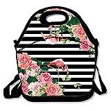 Daisy Evans Lunch-Tasche, Neopren, abnehmbar, tragbar, Thermisch, Lunchbox/Kühltasche, für Women, Teen, Girls, Kids, Babys, Erwachsene, Tropische Flamingo Rosen Gr. 0-3 Monate, Mehrfarbig