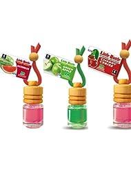 3 elegante Duftflakons für Auto und Wohnung Bestseller Mix: 1 x Green Apple - Apfel, 1 x Cherry - Kirsche, 1 x Watermelon - Wassermelone