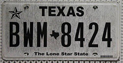 USA Nummernschild TEXAS # US Kennzeichen THE LONE STAR STATE # Typ (Farbgebung) Schwarz-Weiß # KFZ Blechschild