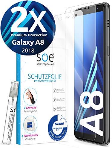 [2 Stück] 3D Schutzfolien kompatibel mit Samsung Galaxy A8 - [Made in Germany - TÜV] - Hüllenfre&lich - Transparent - Selbstheilend - kein Glas sondern Panzerfolie TPU