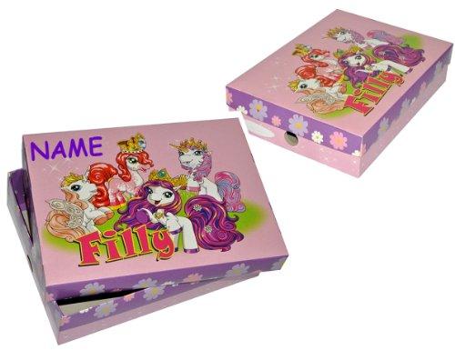alles-meine.de GmbH Aufbewahrungsbox - Schulbox / Kreativbox -  Filly Pferde Einhorn Fairy  - aus stabilem Karton - inkl. Name - Zeichenbox / Schachtel / Spielzeugkiste / Malbo..