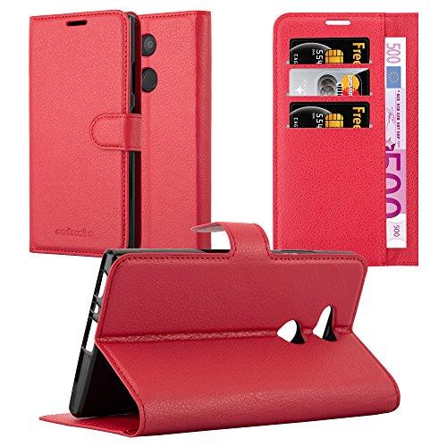 Cadorabo Hülle für Sony Xperia L2 - Hülle in Karmin ROT - Handyhülle mit Kartenfach & Standfunktion - Case Cover Schutzhülle Etui Tasche Book Klapp Style