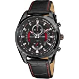 Accurist Black Leather Chronograph Textured Watch