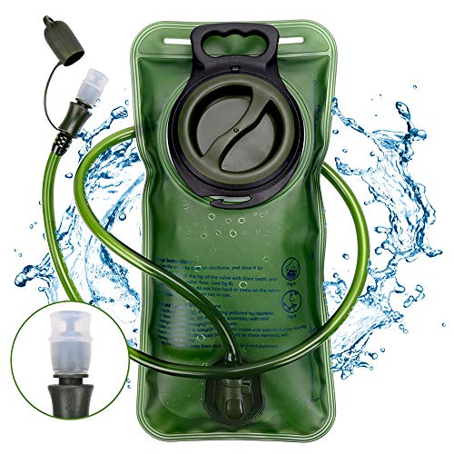 Trinkblase, Nasharia Premium BPA Frei Trinkblase 2L mit Beissventil Antibakteriell und Auslaufsicher für Jeden Trinkrucksack Geeignet - Hochwertiges Trinksystem für Sport & Freizeit