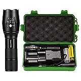 Vockvic LED CREE Taschenlampe, Superhelle 1200 Lumen Taktische Tragbare Zoombar Taschenlampe, 5 Modis Einstellbar Wasserdicht Taschenlampen mit USB Ladegerätund & 18650 wiederaufladbare Akku
