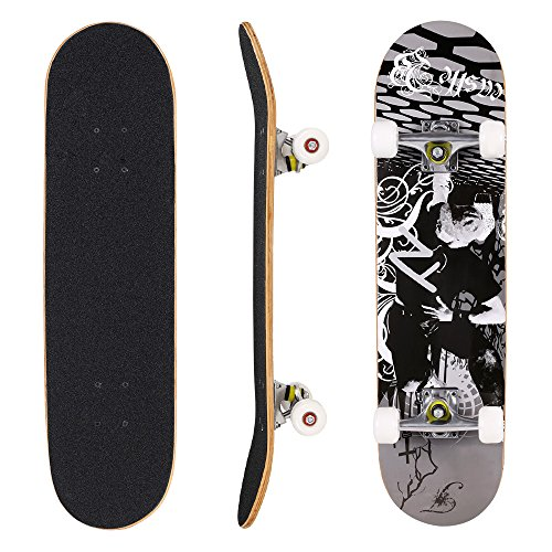 WeSkate Skateboard Komplett Board 79x20cm Holzboard ABEC-7 Kugellager 31 Zoll 7-lagigem Ahornholz, 85A Rollen für Anfänger Kinder Jugendliche und Erwachsene (Farbe2_GF)
