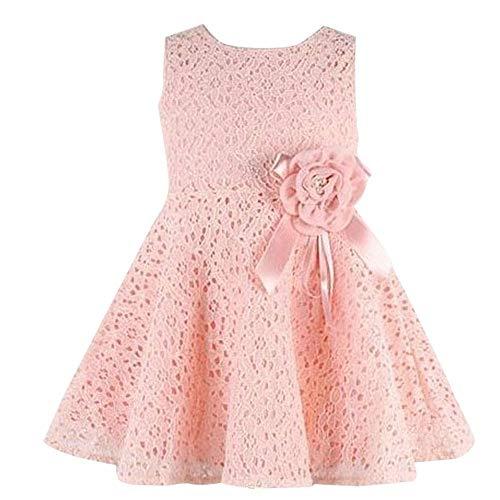 MOIKA Baby Mädchen Kleid für 0-7 Jahre, Mädchen Kinder Ärmellos Spitze Floral Einteiliges Kleid Kind Prinzessin Party Kleid - Mädchen-rosa-jersey-kleid