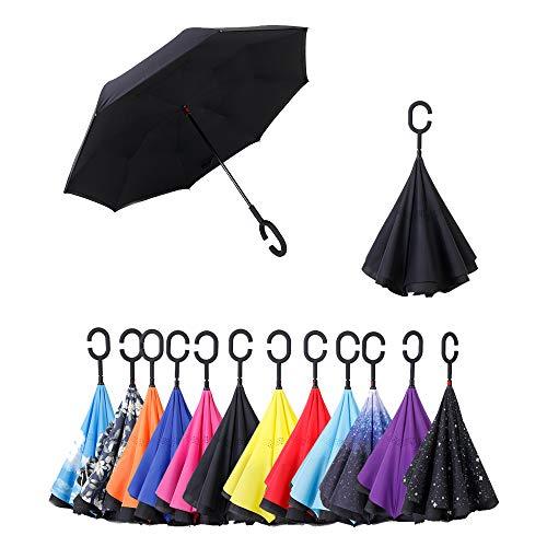 FAIRYPIE Paraguas Invertido De Doble Capa, con Mango En Forma De C Invertida. Paraguas A Prueba De Viento Anti-UV para La Lluvia del Coche Al Aire Iibre,Black