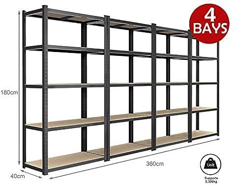 Dripex 180cm x 90cm x 40cm 5 Tier Boltless Metal Storage Shelves - More Color and Size Available Heavy Duty Shelving Unit - 265kg Per
