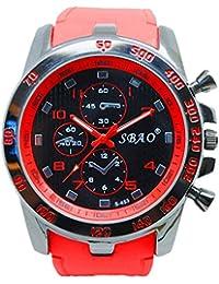 Disfrutar de pulsera Relojes Cronógrafo Automático resistente al agua reloj deportivo para vacaciones de verano playa Sport manecillas luminiscentes. Reloj claro color rojo