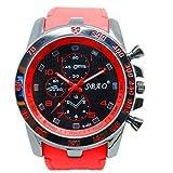 Questa orologi automatico cronografo impermeabile Sport orologi per le vacanze in spiaggia Sport haifischtech lancette estate orologio chiaro colore rosso