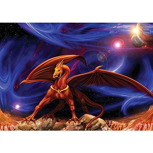 Vlies Fototapete PREMIUM PLUS Wand Foto Tapete Wand Bild Vliestapete - Drache Sterne Planeten Weltall Kindertapete - no. 2145, Größe: 416 x 254cm Vlies